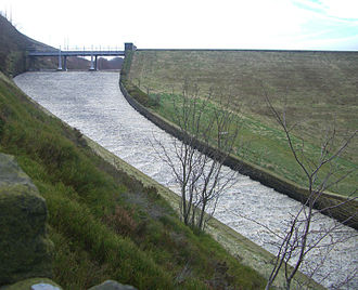 Strines Reservoir - The overflow spillway in spate