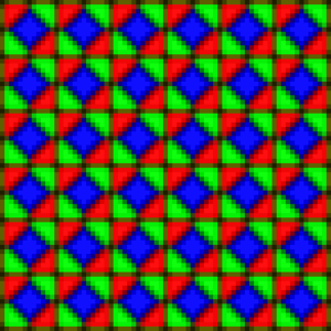 PenTile matrix family - Prototypic five subpixel repeat cell geometry of PenTile Matrix (magnified diagram).