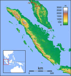 Map showing the location of Padang-Sugihan Wildlife Reserve