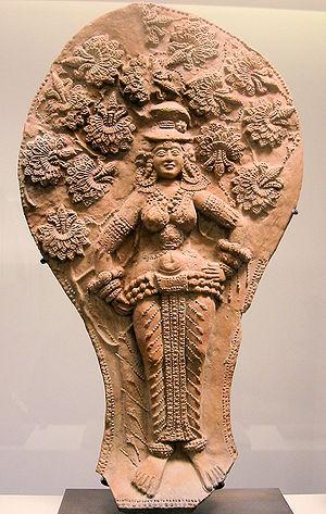 Yakshini - Yakshi under a flowering asoka tree. Shunga, 2nd-1st century BC, India