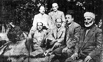 Syrian nationalism - Seated from left to right: Shukri al-Quwatli (future president), Saadallah al-Jabiri (future prime minister), Rida al-Shurbaji (co-founder of the National Bloc), Sheikh Saleh al-Ali, commander of the Syrian Coastal Revolt of 1919. Standing are Hajj Adib Kheir (left) and Ibrahim Hananu, commander of the Aleppo Revolt