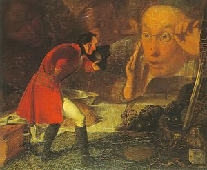 Gulliver's Travels - Gulliver exhibited to the Brobdingnag Farmer (painting by Richard Redgrave)