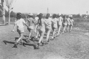 Kfar Szold - Members of Palmach training at Kfar Szold. 1947