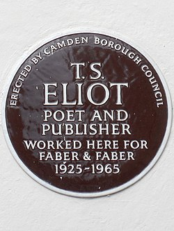 T. s. eliot poet and publisher worked here for faber and faber 1925 1965