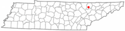 Location of Jacksboro, Tennessee