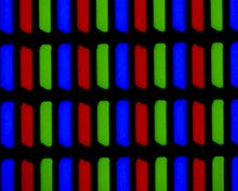 lcd television a close up 300× view of a typical lcd clearly showing the sub pixel structure the notch at the lower left of each sub pixel is the thin film