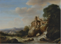 TRAVELLERS BY A RIVER WITH RUINS ABOVE, AN EXTENSIVE LANDSCAPE BEYOND.PNG