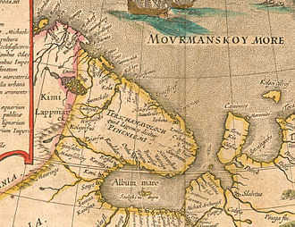 "Barents Sea - Shores of the Barents (Murman) Sea. From ""Tabula Russiae"", Joan Blaeu's, Amsterdam, 1614."