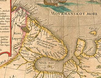 "Barents Sea - Shores of the Barents (Murman) Sea. From ""Tabula Russiae"", Joan Blaeu's, Amsterdam, 1614."