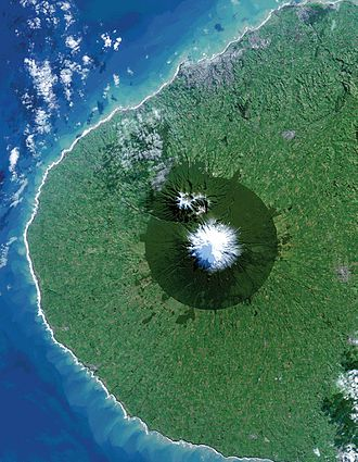 Taranaki - Picture of Taranaki acquired from the Landsat 8 satellite, showing the near-circular Egmont National Park surrounding Mount Taranaki. New Plymouth is the grey area on the northern coastline.