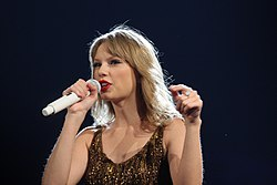 Singer Taylor Swift performing