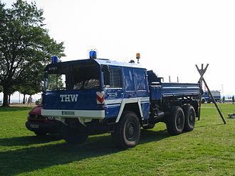 Technisches Hilfswerk - THW six-wheel vehicle at volunteer fair in Travemünde