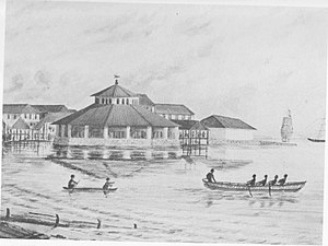 Lau Pa Sat - The old Telok Ayer Market at the seaside as designed by George Drumgoole Coleman at Telok Ayer Bay. Details of an 1847 painting by John Turnbull Thomson. The fish market extension is visible behind the main market.