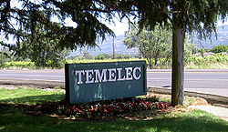 The north entrance sign for the Temelec housing development, at the corner of Almeria and Arnold
