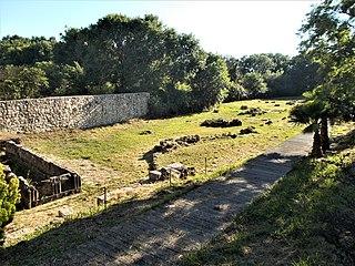 Archaic temple in Corfu, Greece