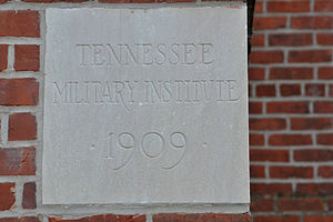 Tennessee Military Institute - The cornerstone of the main building at Tennessee Military Institute