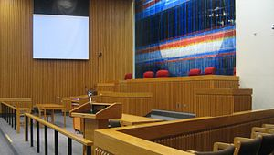 University of Pittsburgh School of Law - View of the bench and jury box from the gallery area of the Teplitz Memorial Moot Courtroom