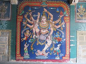 Thayumanaswami Temple, Rockfort - Paintings on the wall of hall leading to the sanctum.