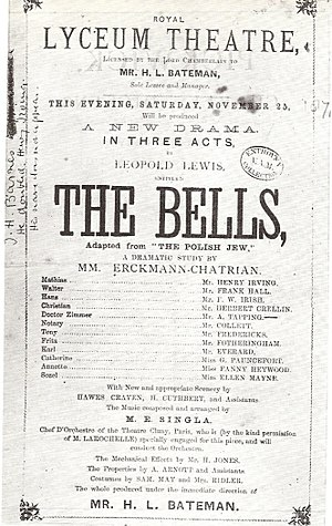 The Bells (play) - Programme for the opening night of The Bells, 25 November 1871