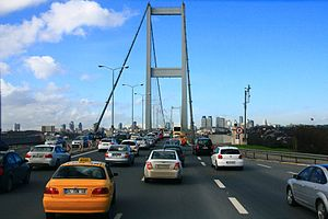 Bosphorus Bridge - Heading towards Levent via the Bosphorus Bridge and O-1 motorway.