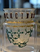 The Cologne diatreta glass bowl (cage cup), 1st half of 4th century AD, found in Cologne from grave 5 in the family cemetery of a villa rustica, Roman glassware, Romisch-Germanisches Museum, Cologne (14874025914).jpg