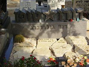 """Dudu Topaz - Dudu Topaz's grave, inscribed David Goldenberg, in the """"Yarkon"""" cemetery."""