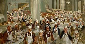 Frank Stout (artist) - The Lobster Convention, oil-on-canvas, 37 x 72 inches, 1974