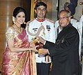 The President, Shri Pranab Mukherjee presenting the Padma Shree Award to Smt. Sridevi Kapoor, at an Investiture Ceremony, at Rashtrapati Bhavan, in New Delhi on April 05, 2013.jpg