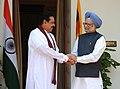The Prime Minister, Dr Manmohan Singh meeting the President of Sri Lanka, Mr. Mahinda Rajapaksa, in New Delhi on June 09, 2010.jpg
