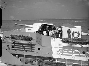 BL 4.7 inch/45 naval gun - On a Landing Craft Gun (L), preparing for the Invasion of Normandy, 1944