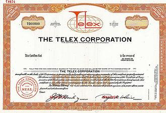 Telex Communications - The Telex Corp. specimen stock certificate