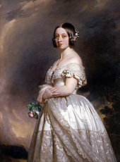 Richly dressed young Victoria gazing at the painter