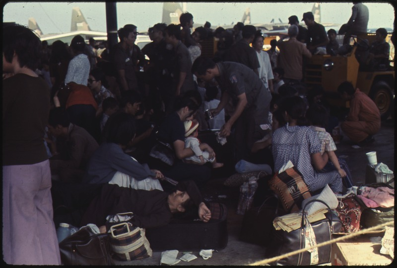 The air evacuation of siege-stricken Vietnamese from Saigon to the U.S. was conducted after the Babylift operation.... - NARA - 542335