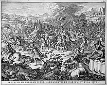 The battle at Arbela (Gaugamela) between Alexander and Darius, who is in flight (1696).jpg