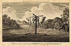 Плот с казнёнными разбойниками на Волге