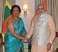 The former President of Sri Lanka, Mrs. Chandrika Kumaratunga meeting the Prime Minister, Shri Narendra Modi, in Colombo, Sri Lanka on March 13, 2015.jpg