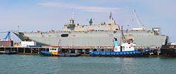 The future HMAS Canberra being fitted out in Williamstown in February 2014.jpg