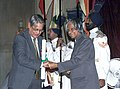 The well-known Sociologist Dr. Andre Beteille receives the Padma Bhushan award from the President Dr. A.P.J. Abdul Kalam in New Delhi on March 28, 2005.jpg
