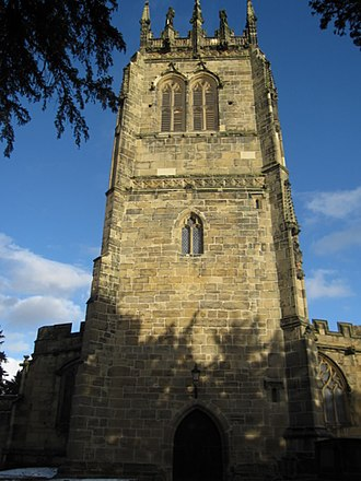 Gresford - Image: The west face of the tower of All Saints, Gresford geograph.org.uk 1688354