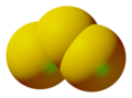 Ball-and-stick model of trisulfur