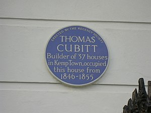 Thomas Cubitt - Plaque on Cubitt's house at 13 Lewes Crescent in the Kemp Town estate at Brighton