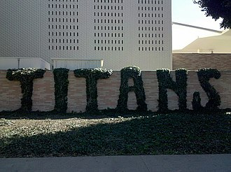 "California State University, Fullerton - ""Titans"" on the exterior of Titan Gym"