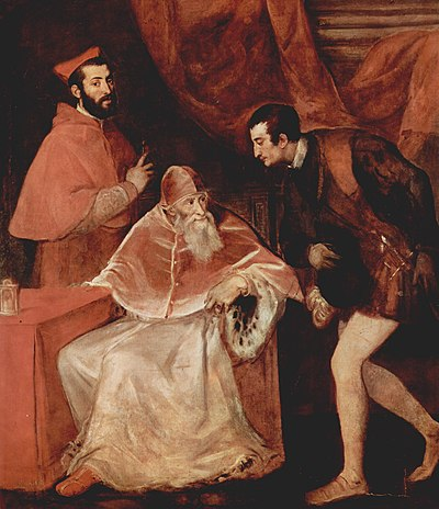 Pope Paul III and his Grandsons Cardinal Alessandro Farnese (left), and Ottavio Farnese, Duke of Parma (right), II Duke of Parma since 1547. A triple portrait by Titian, 1546 Tizian 068.jpg