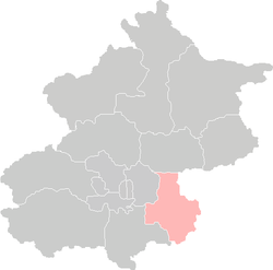Location of Tongzhou District in Beijing