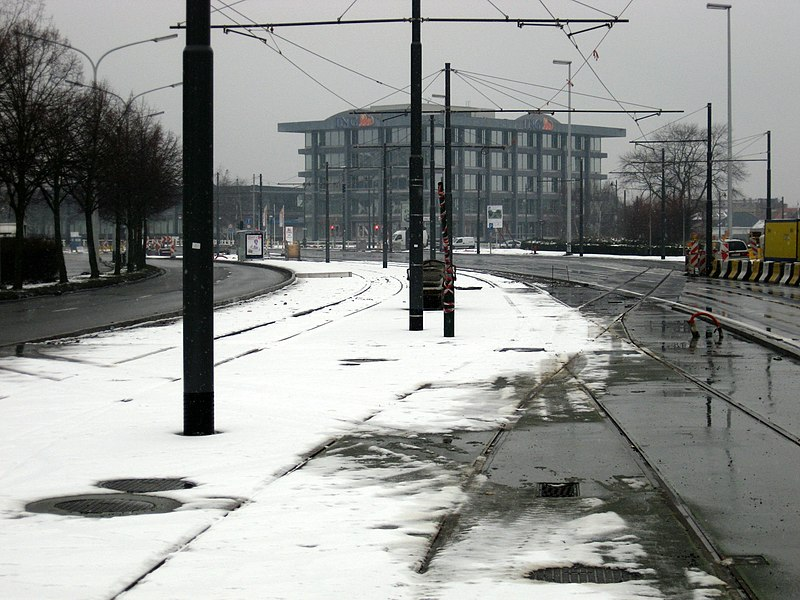 New tramline in Evert by the endpoint. The track to the left is for the depot and the connection with line 55.