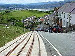 Tramway, Llandudno Descending Ty-Gwyn Road, with a view of the Conwy estuary in the background.