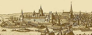 Helgeandsholmen - The northern gates of Stockholm in 1675, showing Helgeandsholmen as a series of scattered islets between Stadsholmen and Norrmalm.