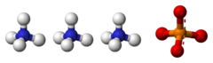 Ball-and-stick model of three ammonium cations and one phosphate anion