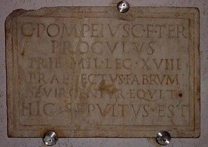 Legio XVIII - Image: Tribunus Militum LEG XVIII Funary inscription