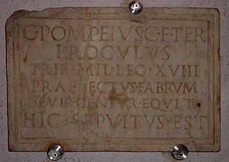 Legio XVIII - Image: Tribunus Militum LEG XVIII Funary inscription
